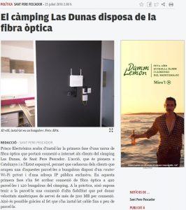 La red de fibra òptica del Camping Las Dunas, en la prensa