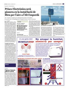 Prisco Electrónica será pionera en la instalación de fibra por aire en el Alt Empordà