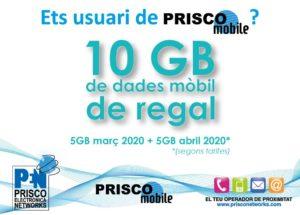 Prisco Electrònica Networks ofereix 10 GB de dades mòbil de regal, 5 el març i 5 l'abril