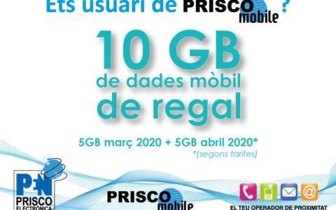 10GB de dades mòbil de regal